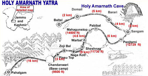 Amarnath Route Map - Road and Trek Guide